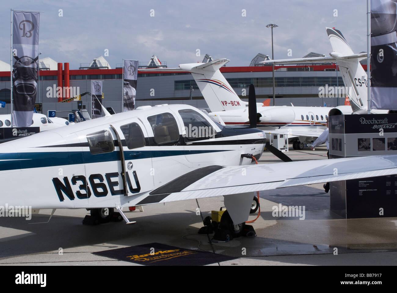 Hawker Beechcraft Beech G36 Bonanza Business Aircraft at EBACE Aircraft Trade Show at Geneva Airport Switzerland - Stock Image