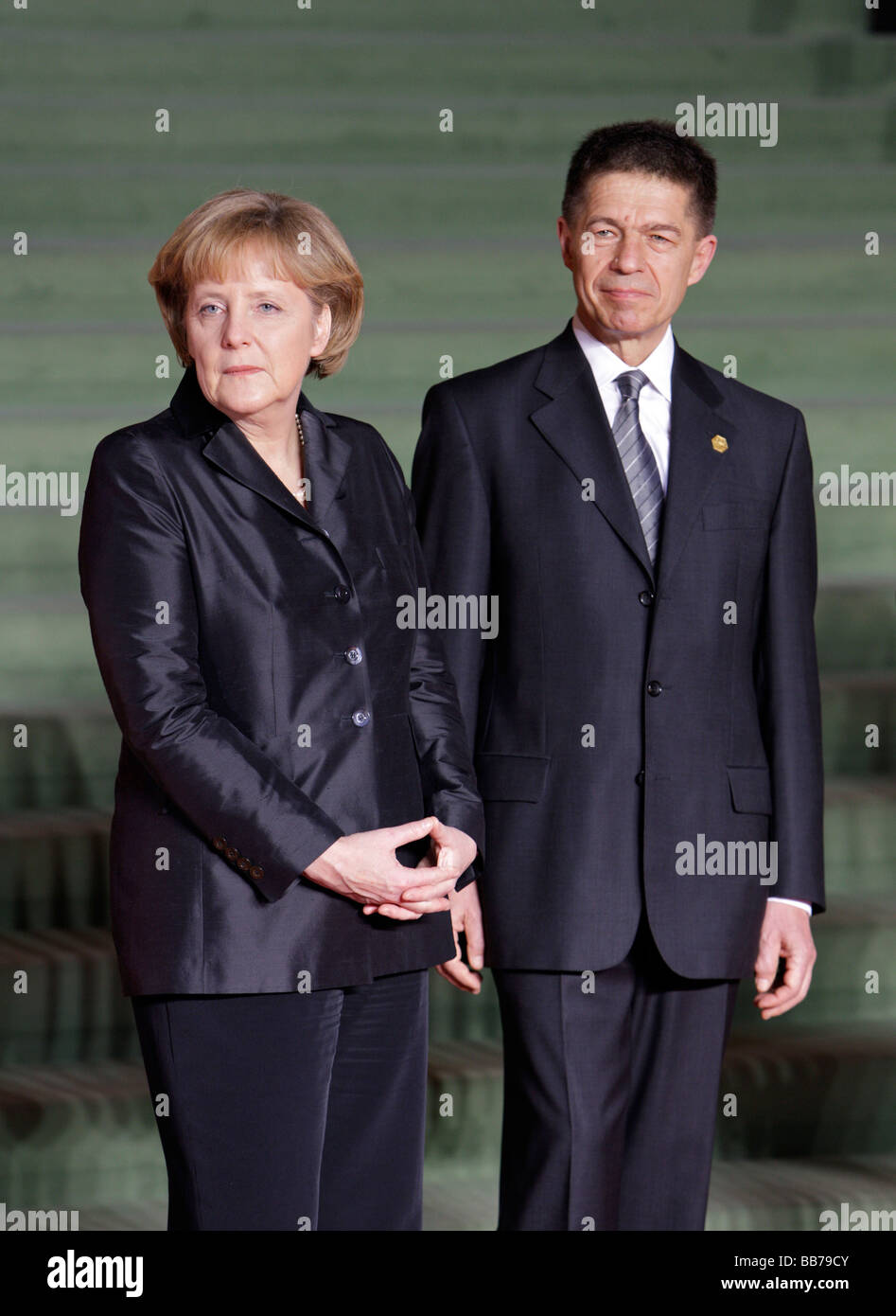 Angela MERKEL CDU Federal Chancellor of Germany and Chairman of the Christian Democratic Union CDU with her husband - Stock Image
