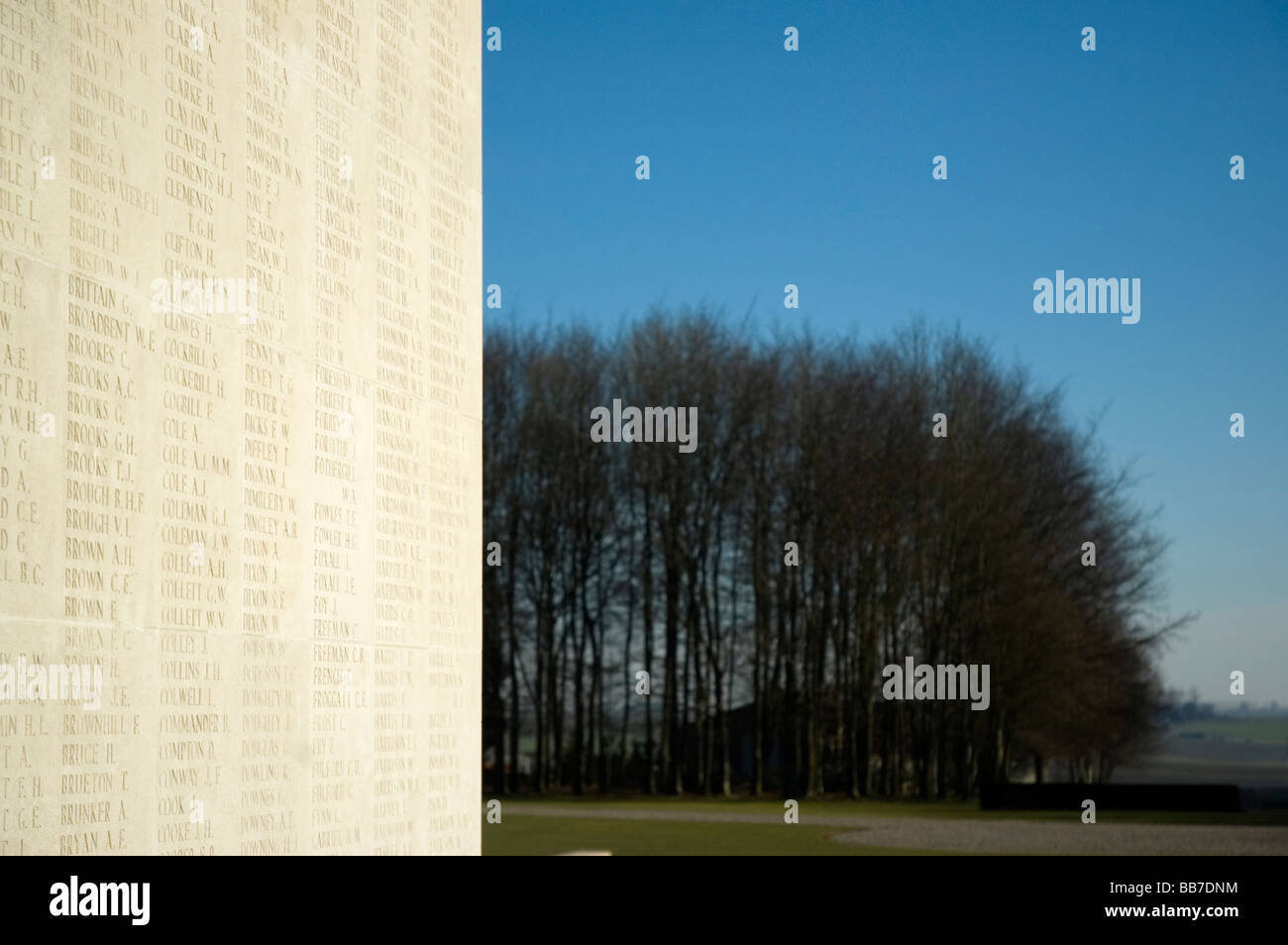 Names of the missing from the battle of the Somme engraved on the Thiepval memorial in northern France. - Stock Image