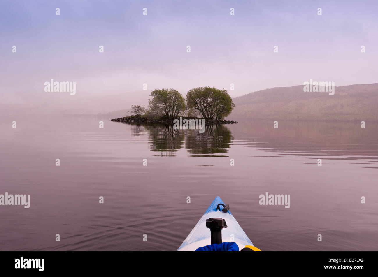 View from kayak on Loch Earn Perthshire Scotland - Stock Image