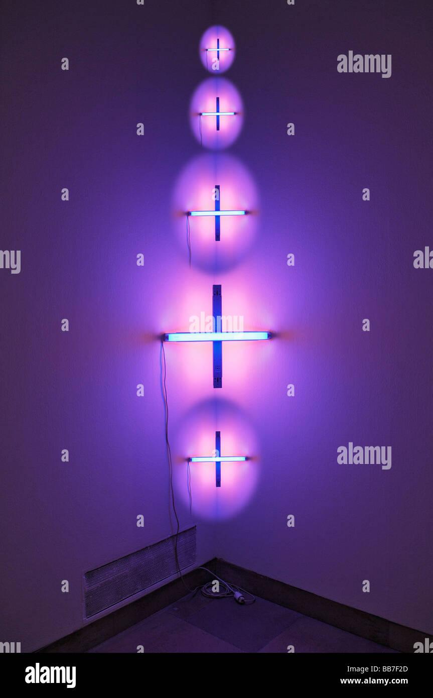 Haus der Kunst, House of Art, Composing, lighting art by Dan Flavin, Munich, Bavaria, Germany, Europe - Stock Image