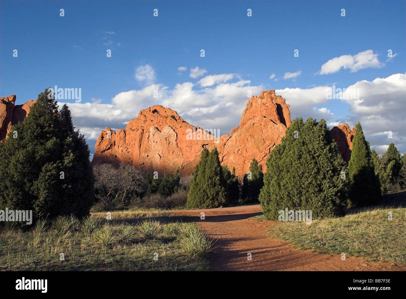The garden of the gods at sunset - Stock Image