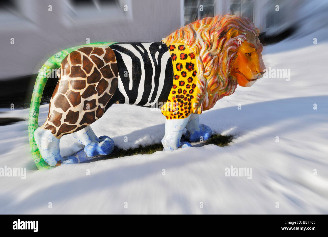 Lion statue in snow, Loewenparade, Lion Parade, Munich, Bavaria, Germany, Europe - Stock Image