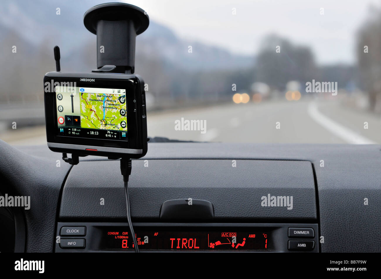 Navigation system in a car, Bavaria, Germany, Europe - Stock Image
