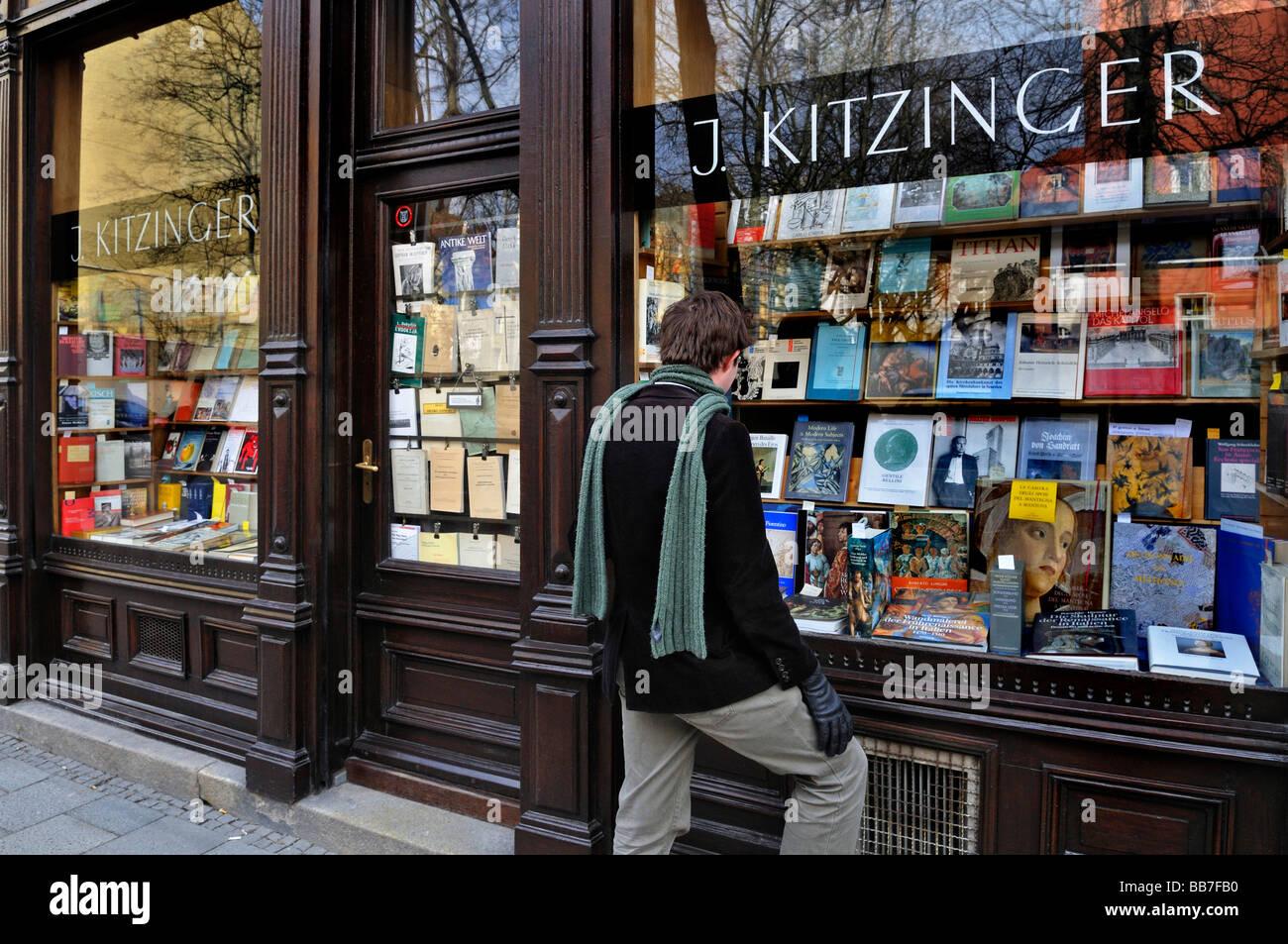Shop window of an antiquarian bookshop, Schellingstrasse street ...