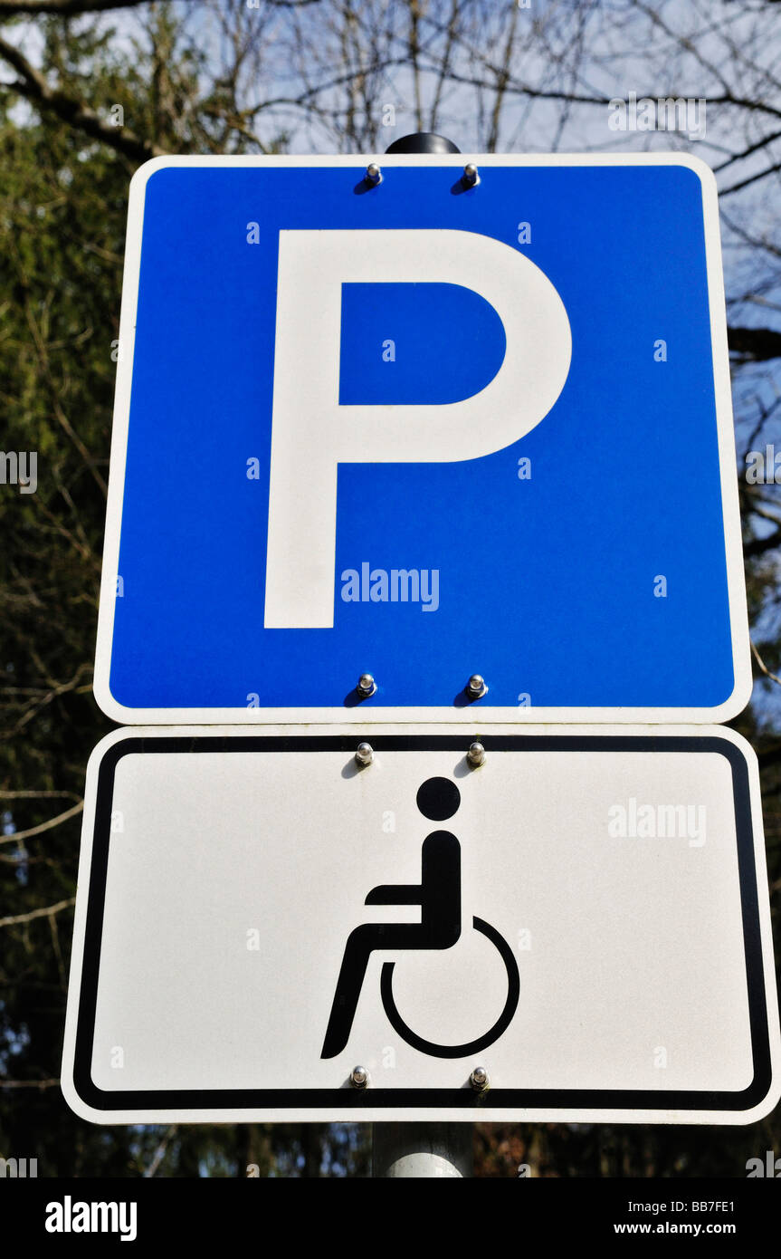 Parking sign for people in wheelchairs, Germany, Europe Stock Photo