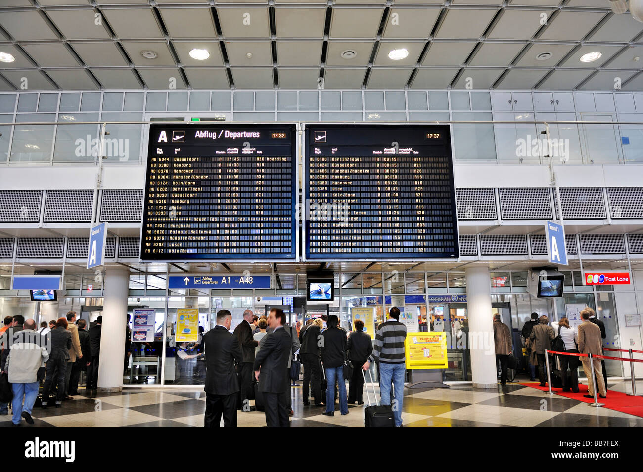 Departure Hall, Terminal 1, Airport MUC 2, Munich, Bavaria, Germany, Europe - Stock Image