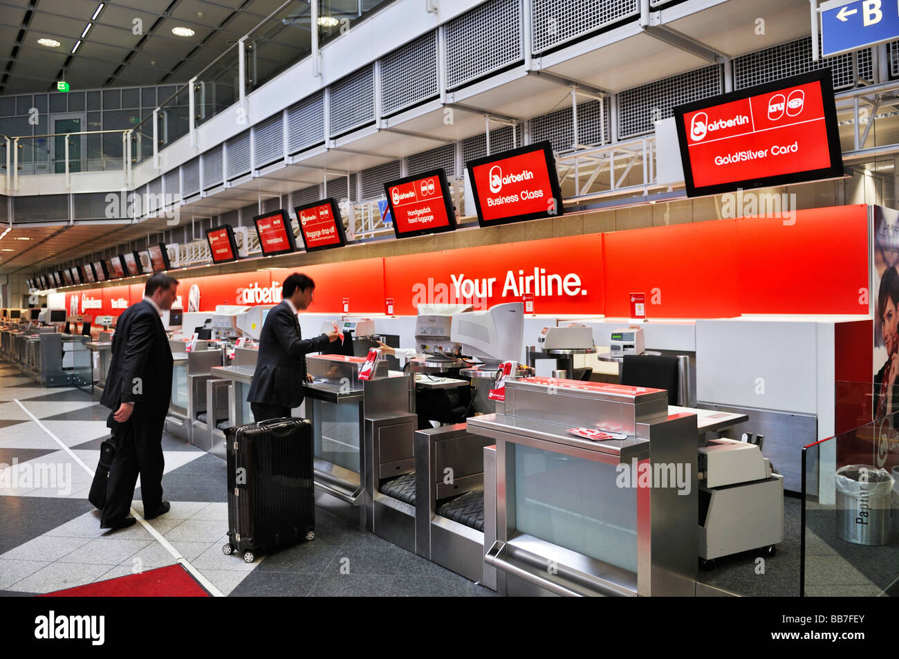 Check-in counter, Airberlin, departure hall, Terminal 1, Airport MUC 2, Munich, Bavaria, Germany, Europe - Stock Image