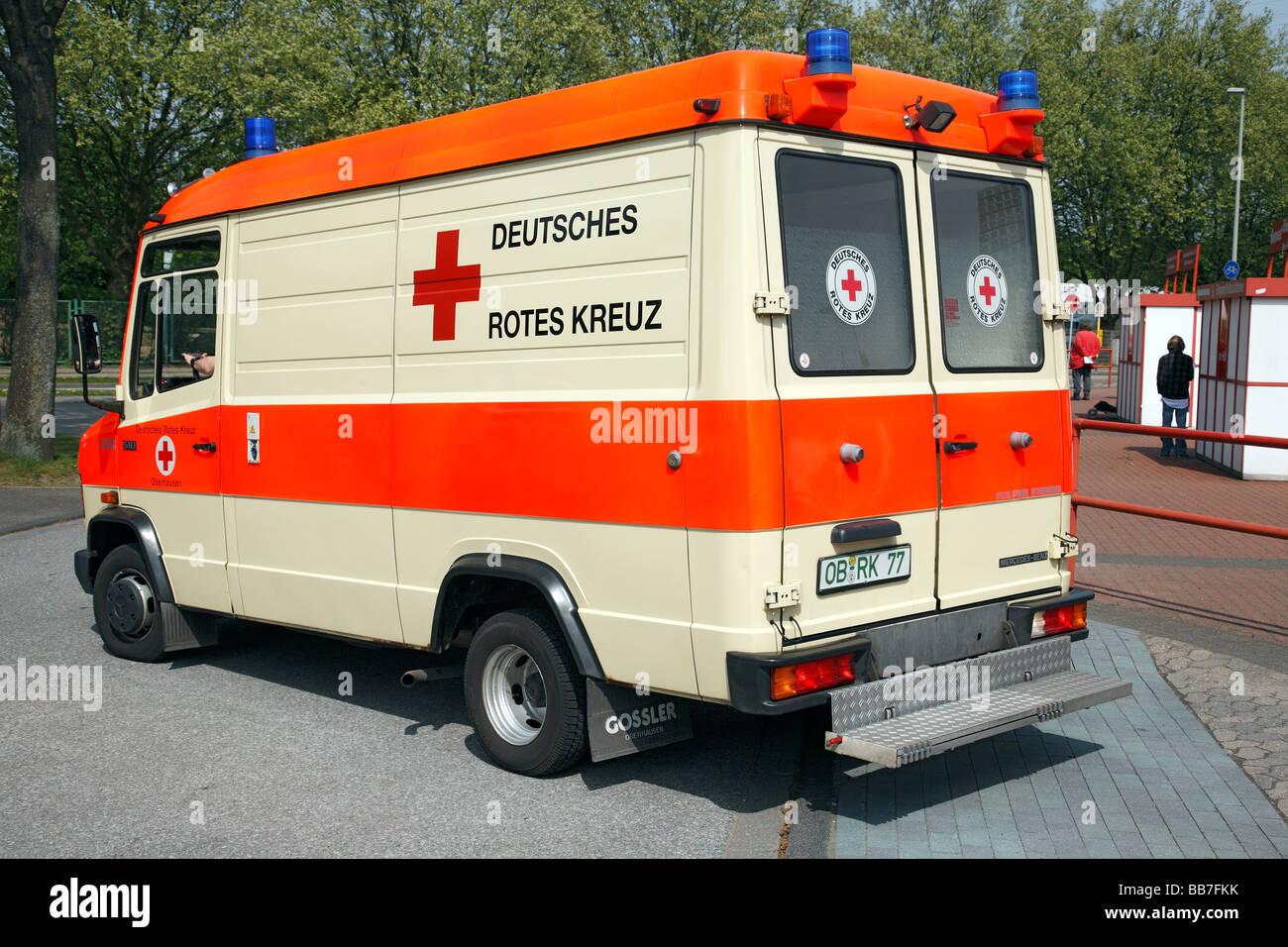 health, emergency treatment, ambulance of the German Red Cross, football stadium, Lower Rhine Stadium in Oberhausen, - Stock Image