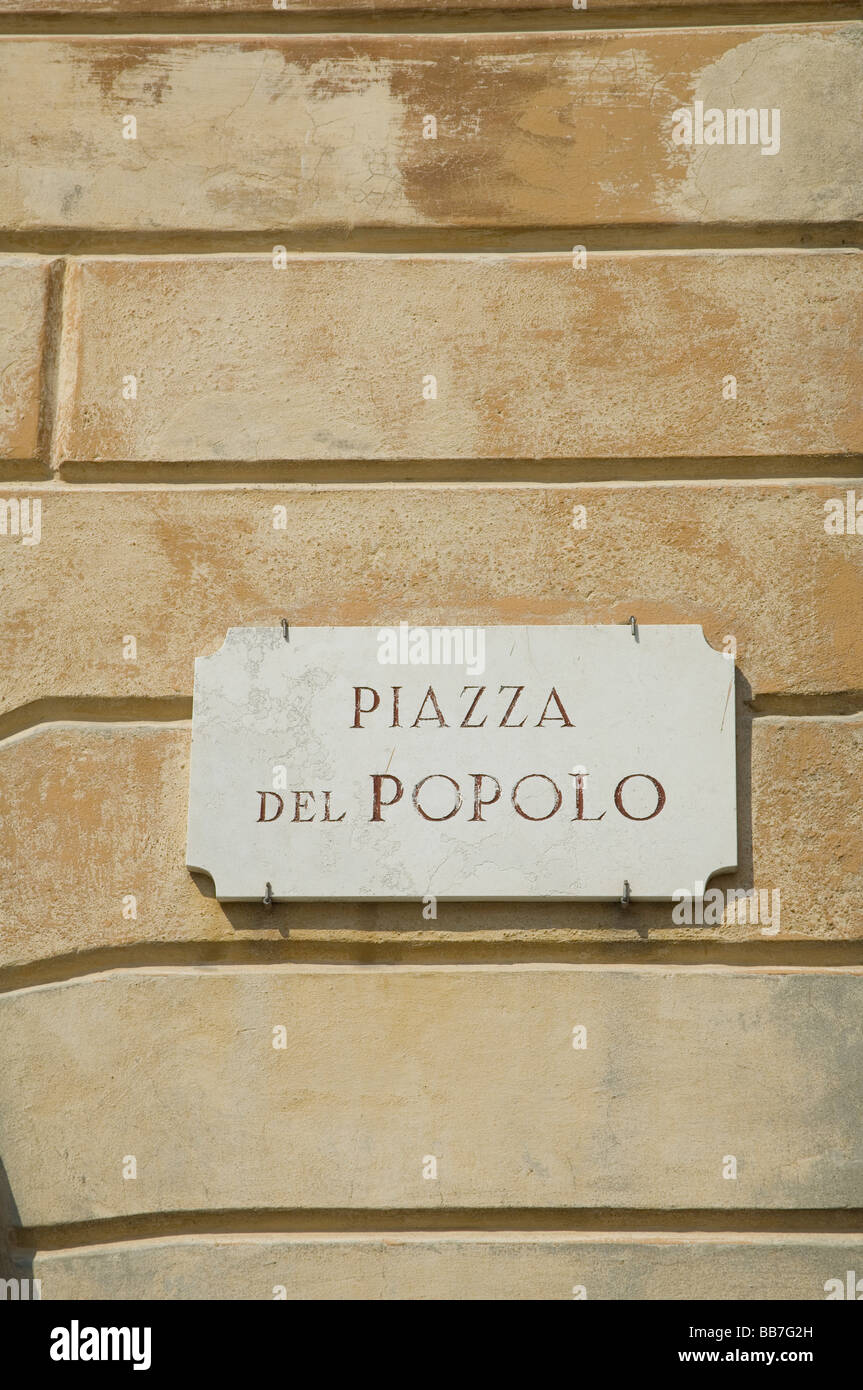 Piazza del popolo sign on wall - Stock Image
