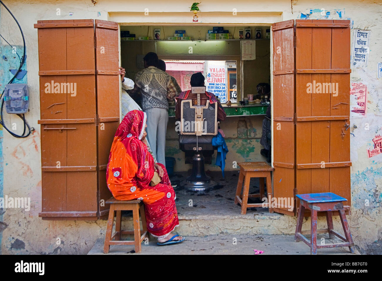 Indian barbershop, North India, India, Asia - Stock Image