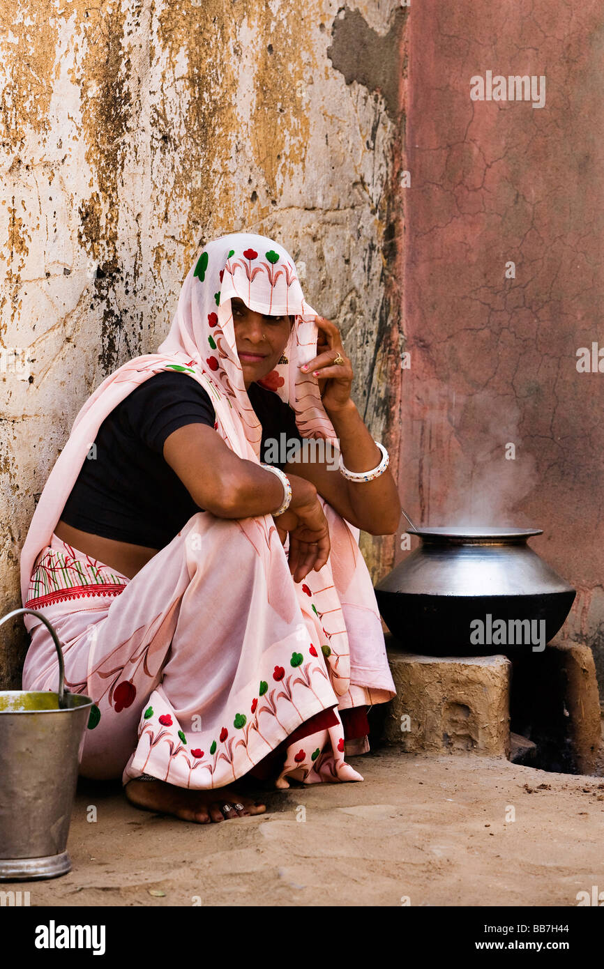 Indian woman cooking, North India, India, Asia Stock Photo