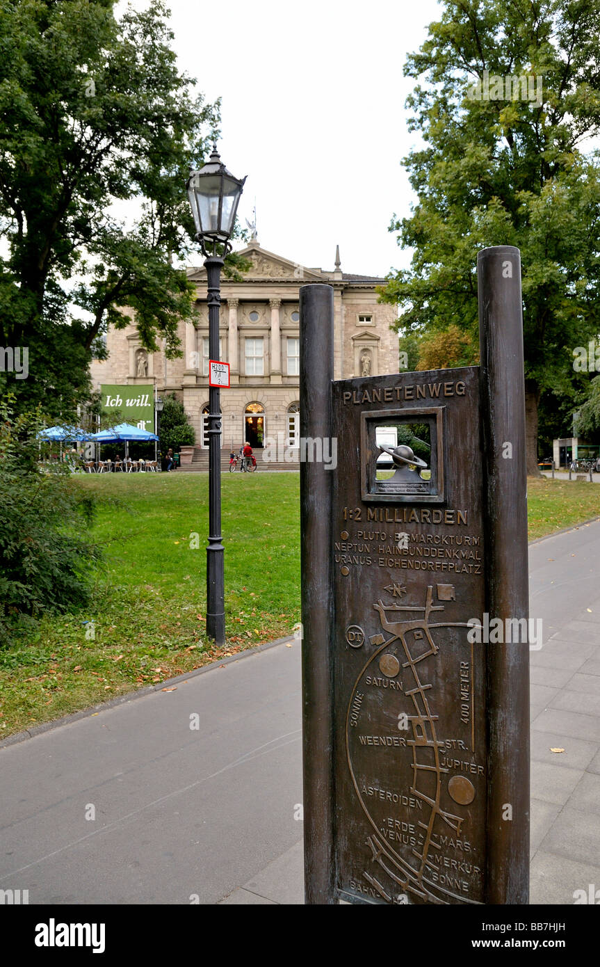 View towards Deutsches Theater with a sign for the Planetenweg, Planetsway, Goettingen, Lower Saxony, Germany, Europe - Stock Image