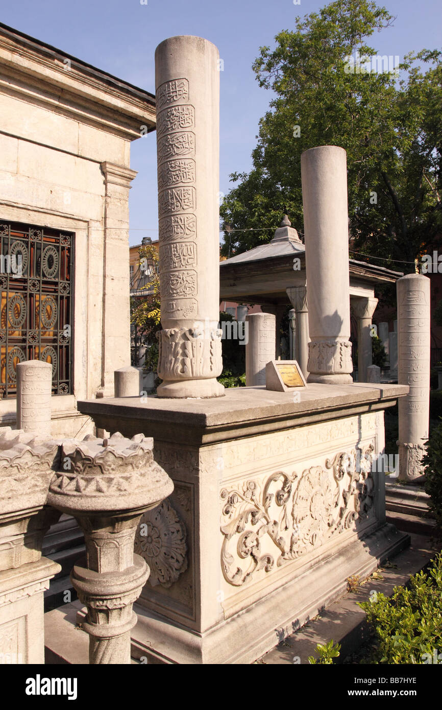 Istanbul Turkey Islamic tombs graves at the Atik Ali Pasa Mosque in the Beyazit district area suburb Stock Photo