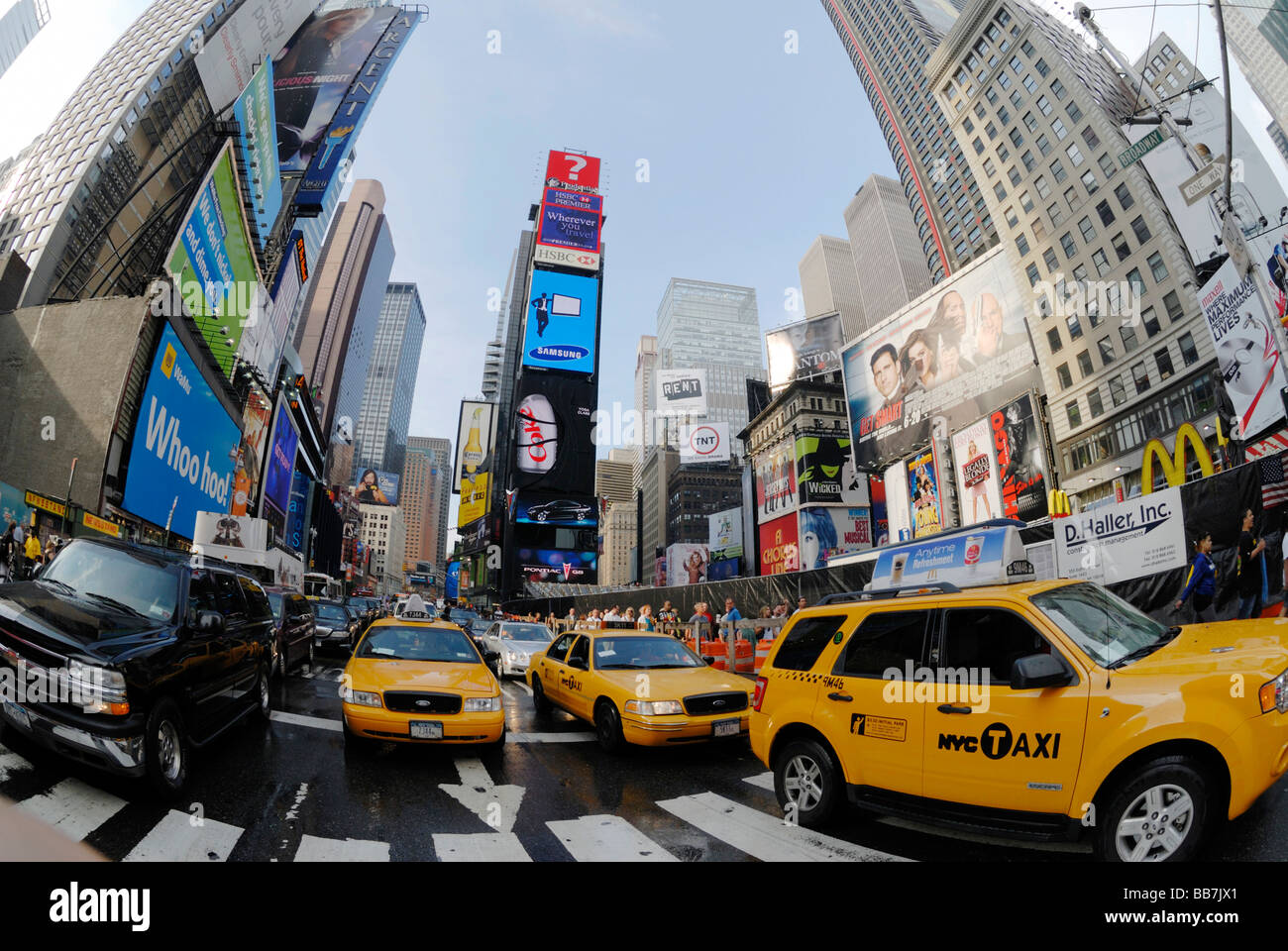 Time Square during rush hour, New York City, USA - Stock Image