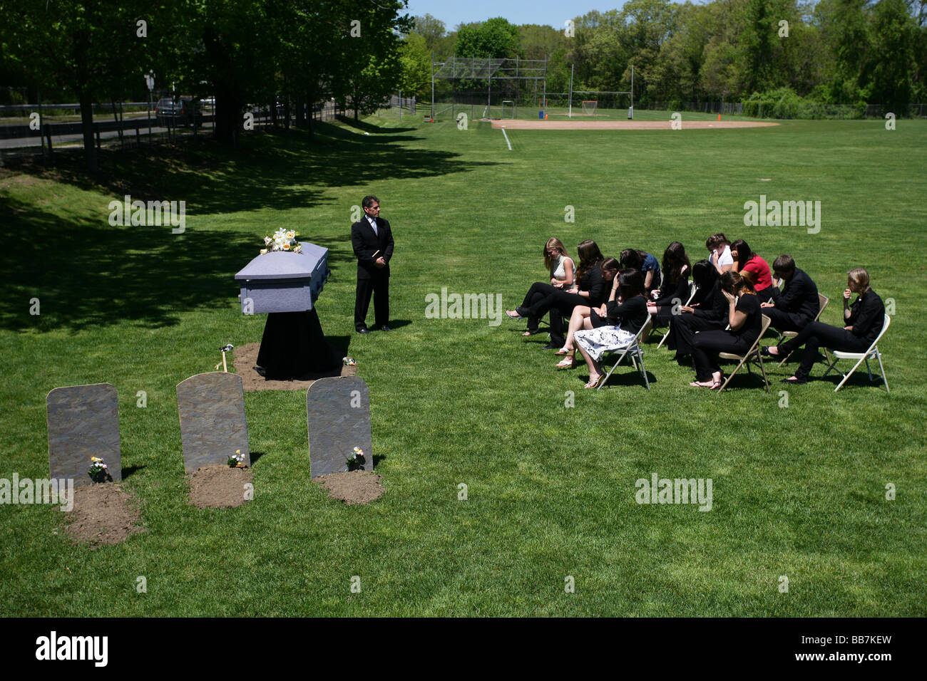 A mock funeral at a high school teaching teens the dangers of drunk driving. CT USA - Stock Image