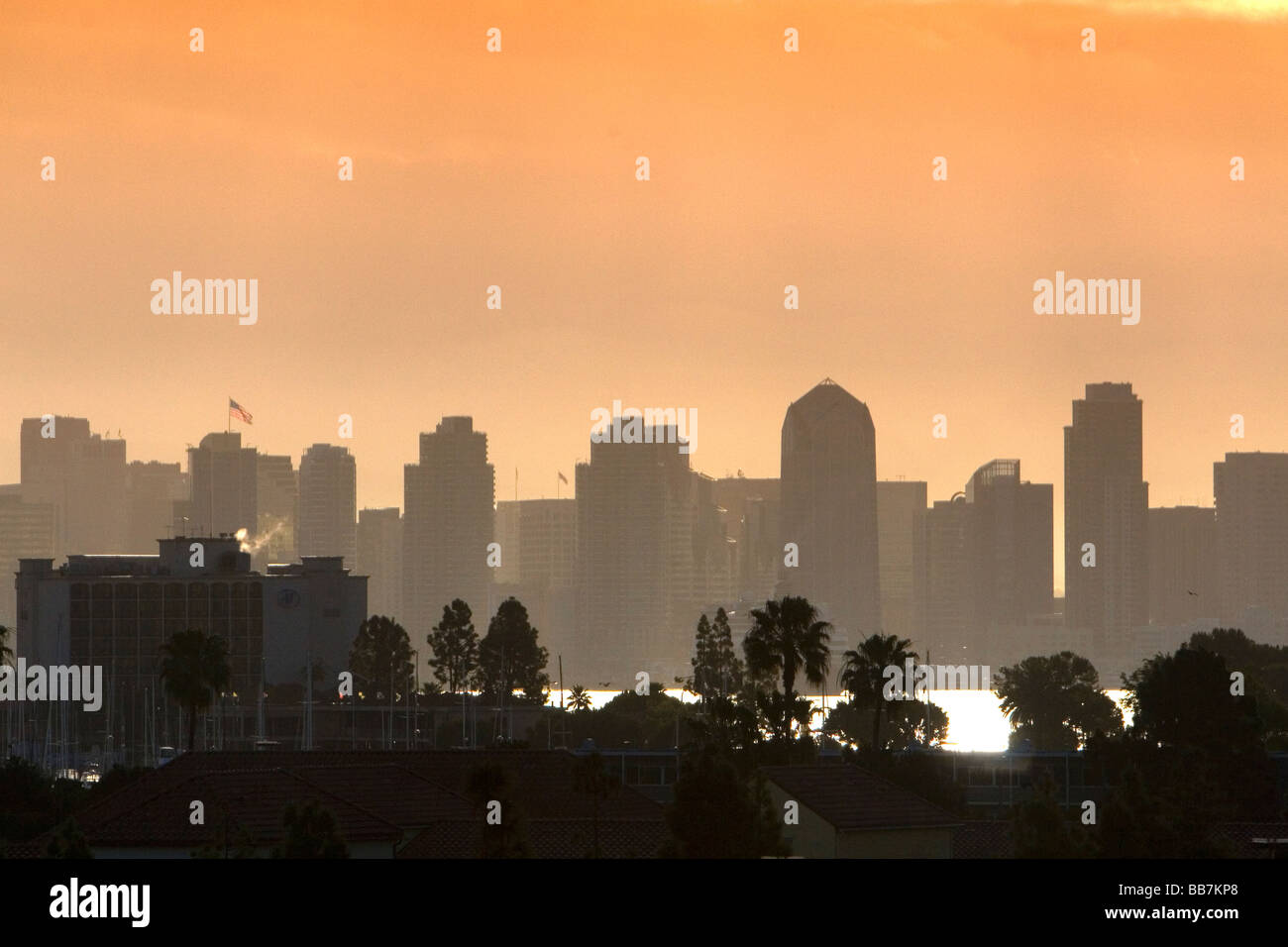 Sunrise over the city of San Diego Southern California USA - Stock Image