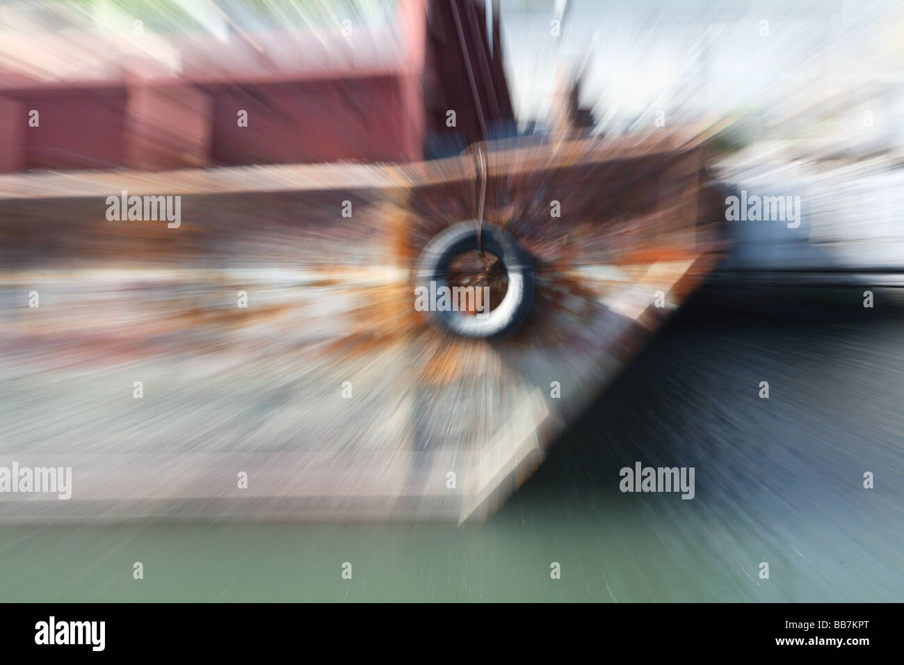 Barge with Zoom Blur - Stock Image