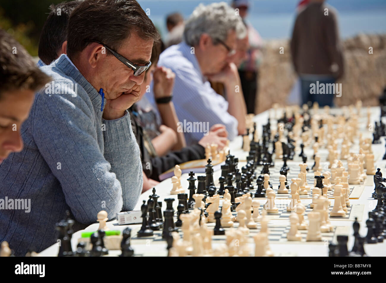 People playing chess in outdoor tournament Palma Mallorca Spain - Stock Image