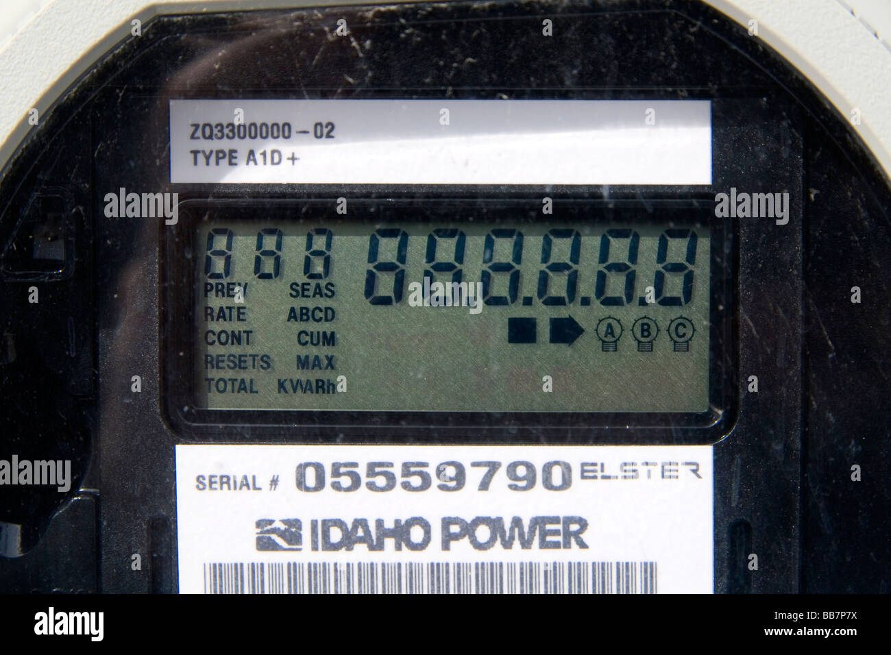 Digital electricity meter displays use and rate of consumption to consumer in Boise Idaho USA - Stock Image