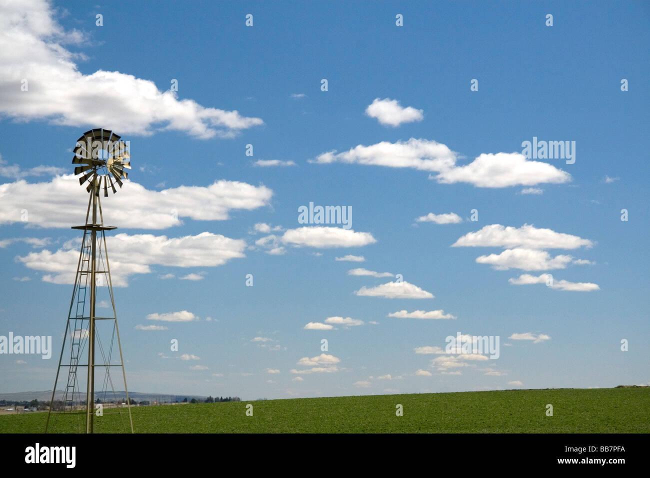 Windmill on a farm in Canyon County Idaho USA - Stock Image