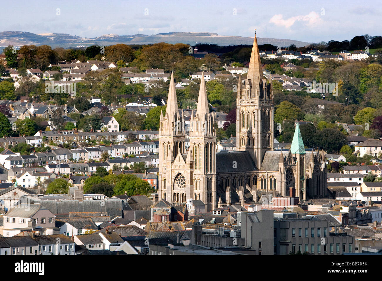 Truro cathedral, late afternoon, Truro, Cornwall, UK - Stock Image