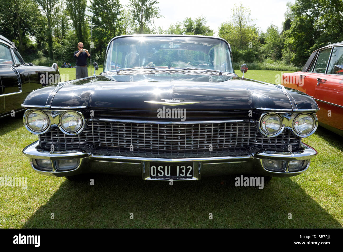 Front of a large vintage american car, Wallingford classic car rally ...