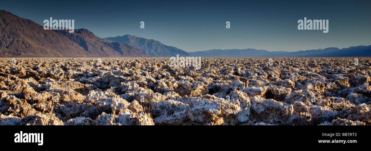 Panoramic view of The Devils Golf Course in Death Valley National Park California USA - Stock Image