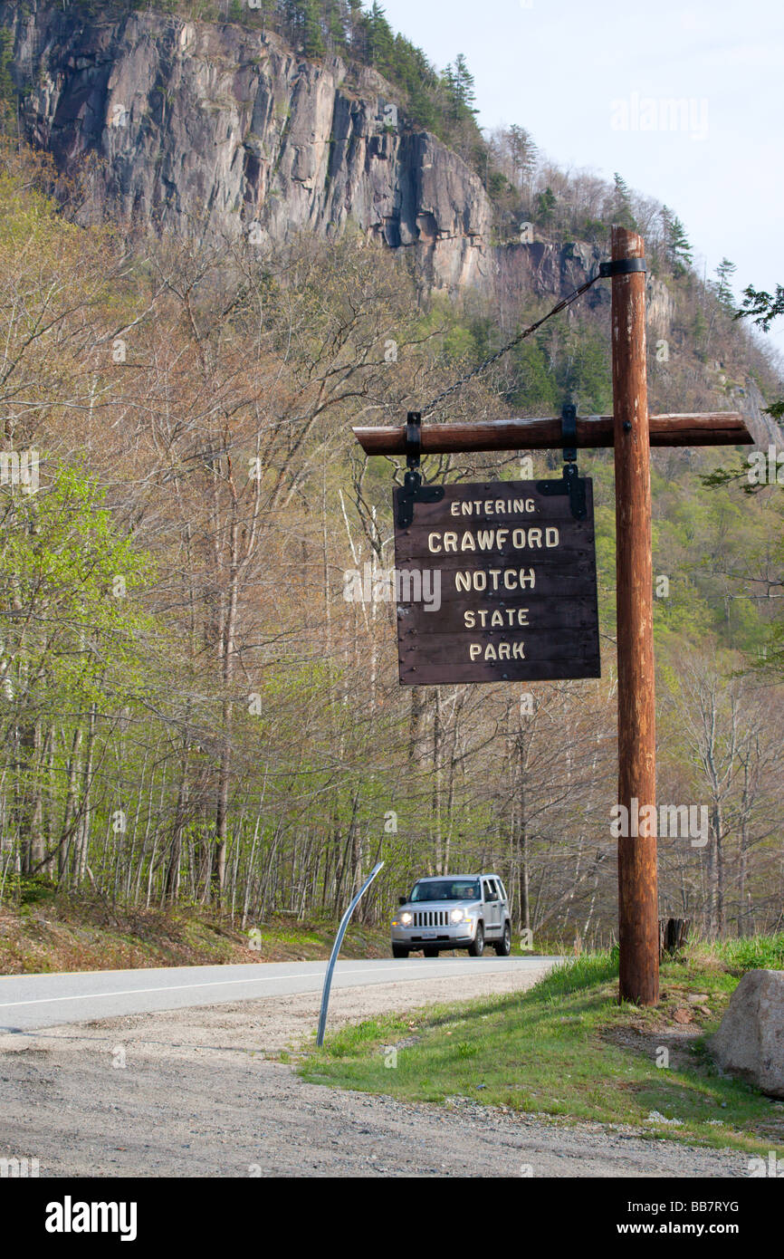 Entering Crawford Notch State Park sign on Route 302 Located in the White Mountains New Hampshire USA Stock Photo