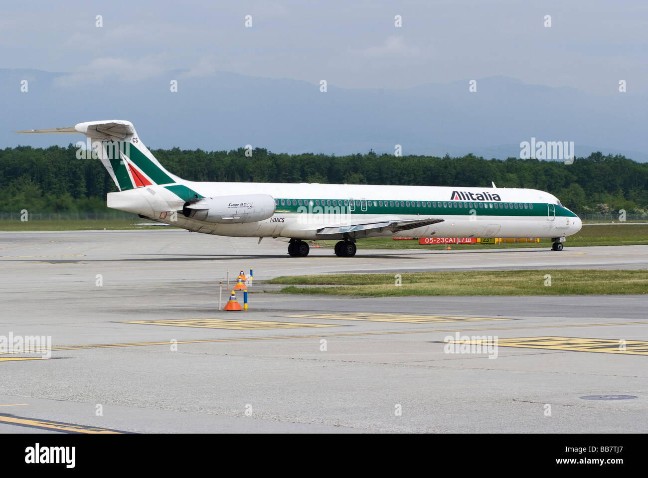 Alitalia Airlines Boeing (McDonnell Douglas) MD-82 (DC-9-82) I-DACS Airliner Taxiing at Geneva Airport Switzerland Stock Photo