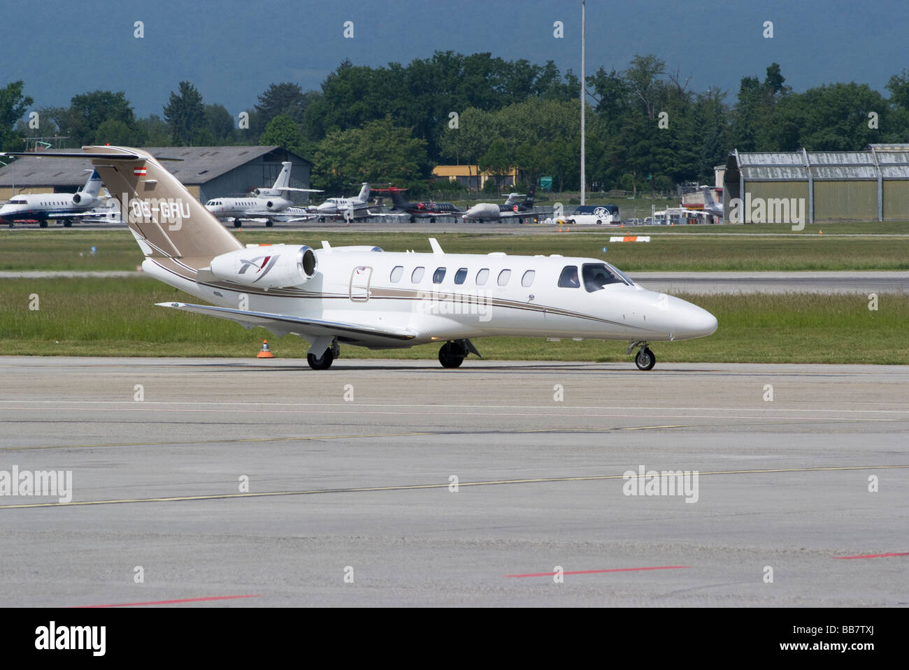 Cessna 525B Citation Jet CJ3 Business Jet OE-GRU Taxiing at Geneva Airport Switzerland Geneve Suisse - Stock Image
