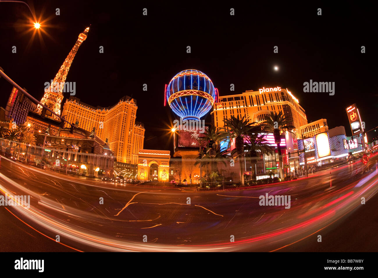 Car light trails and casino illuminations in Las Vegas in Nevada USA - Stock Image