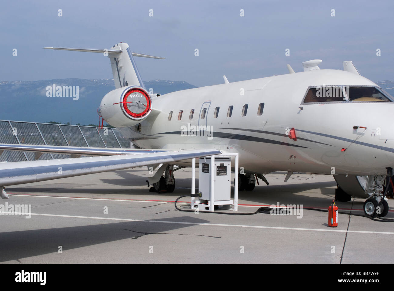 Canadair Challenger 601-3A Business Jet VP-CFT at EBACE Aircraft Trade Show at Geneva Airport Switzerland Stock Photo