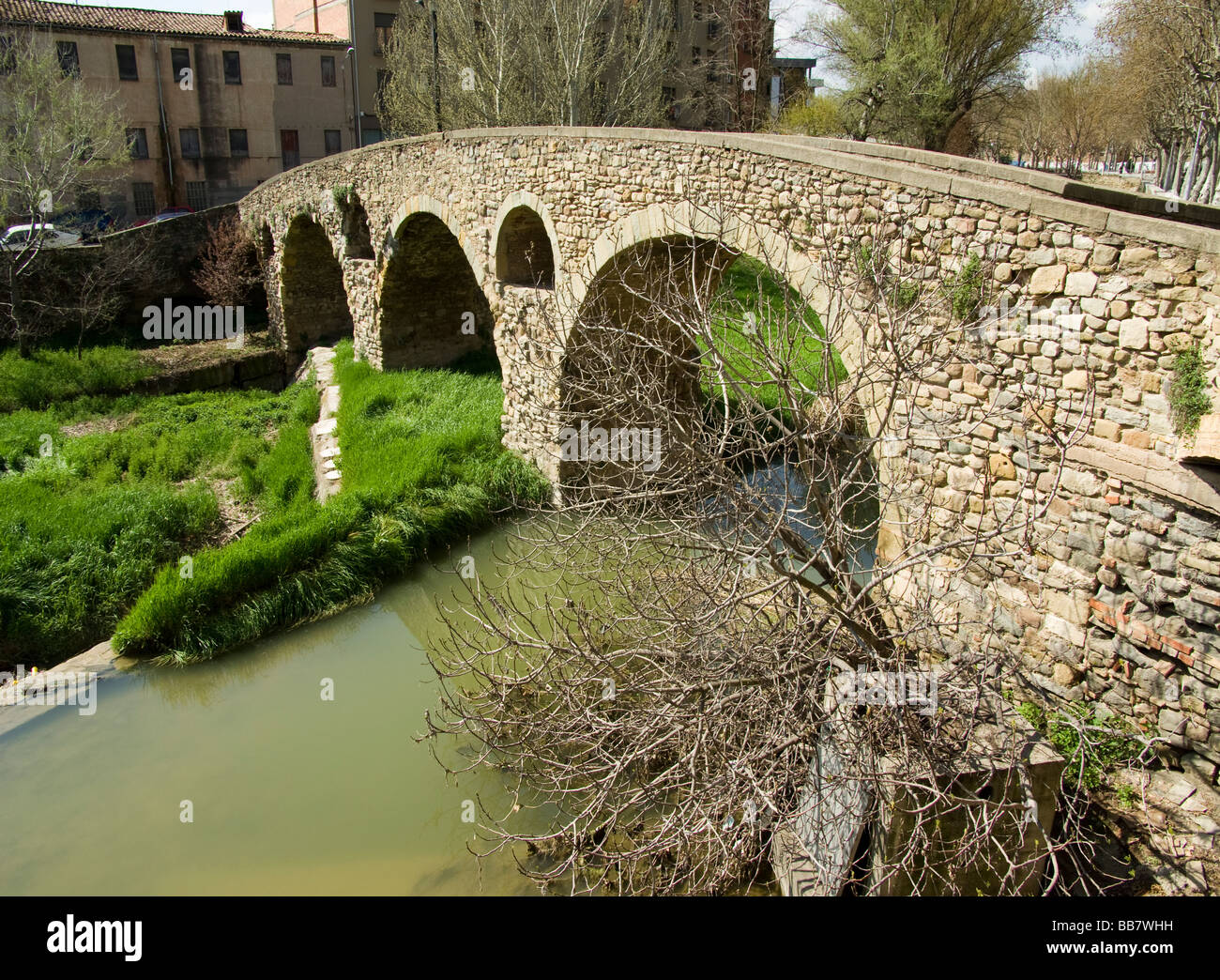 Spain Vic Old town and Roman bridge - Stock Image
