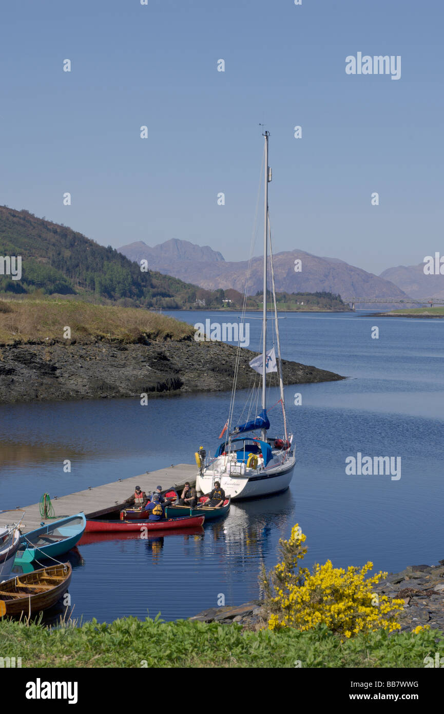 Looking west along Loch Leven towards Ballachulish Bridge from South Ballachulish Highland Region Scotland June - Stock Image