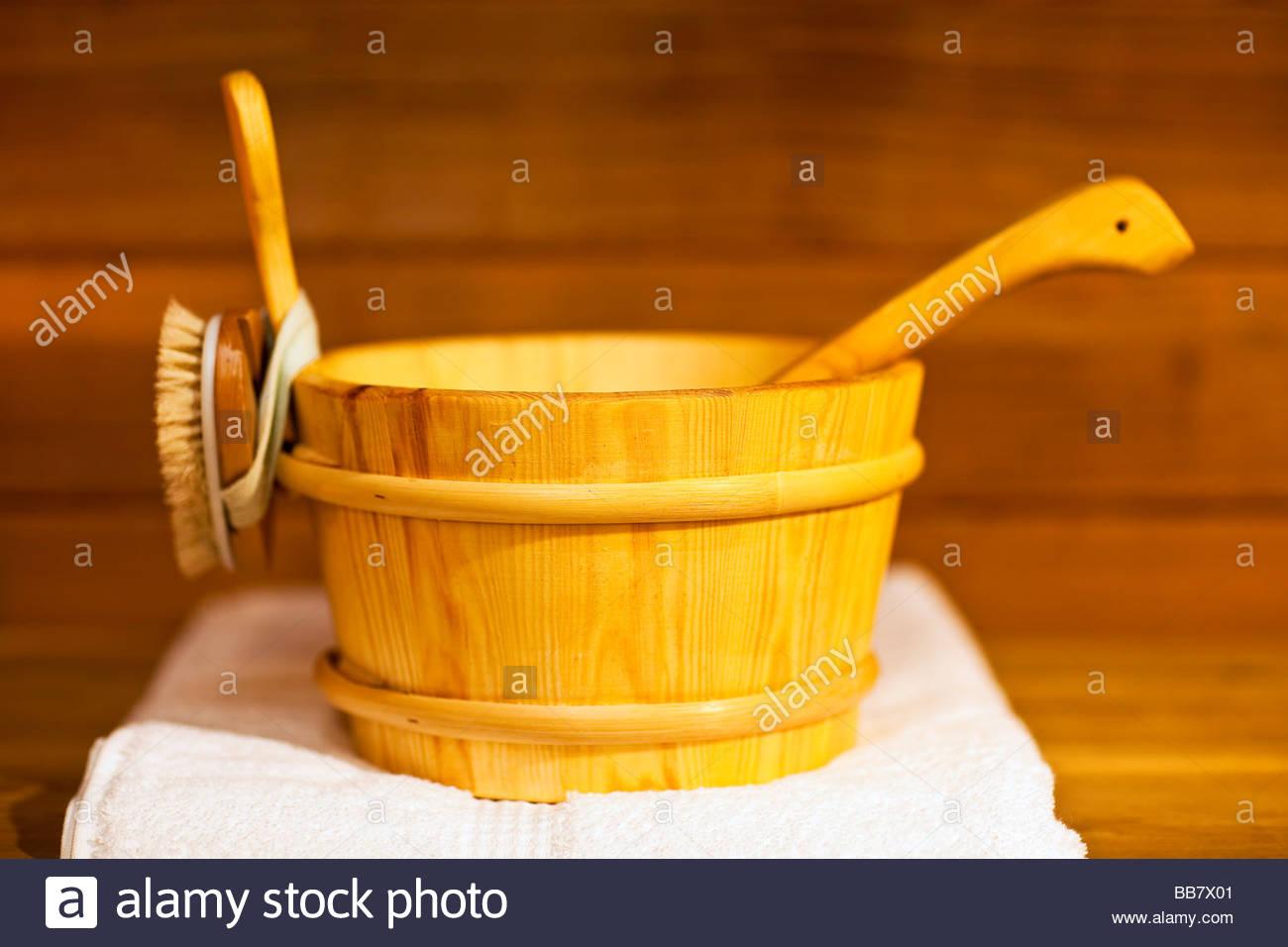 Sauna bucket, interior of a cedar sauna. - Stock Image