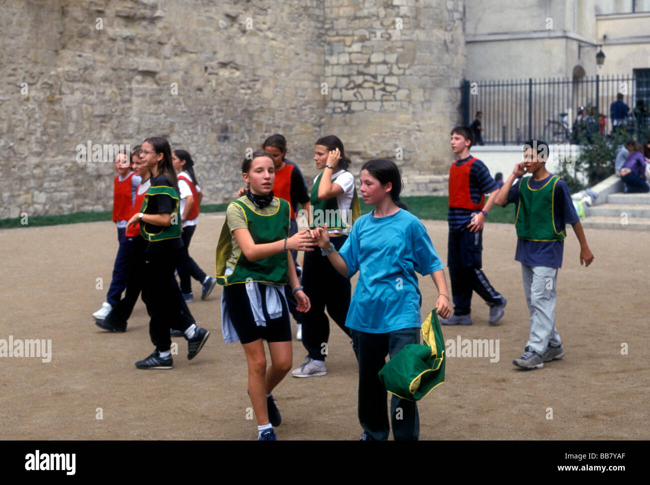 French people gym class students playing ballgame at Lycee Charlemagne Marais District Paris Ile-de-France region - Stock Image