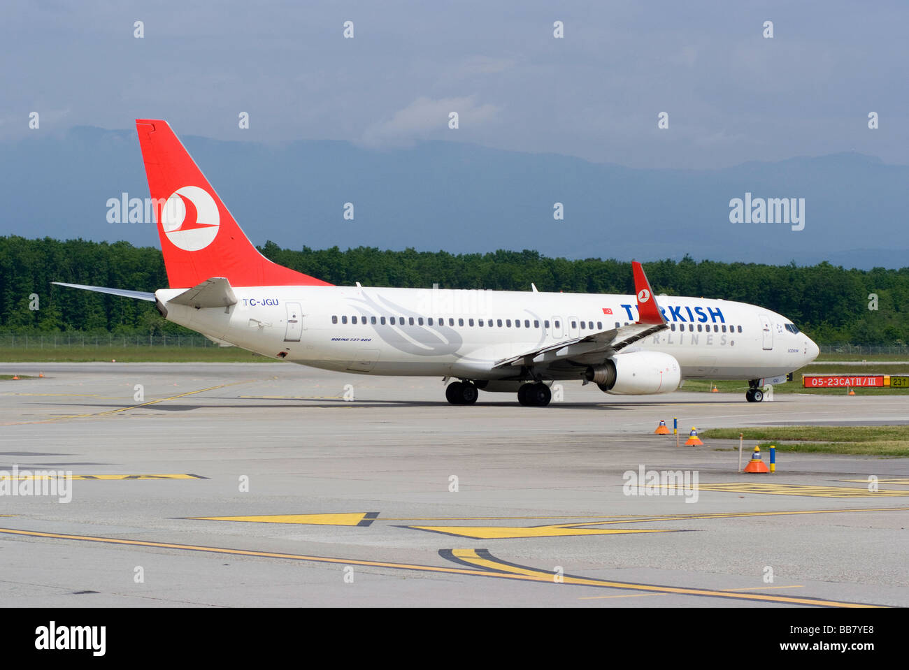 Turkish Airlines Boeing 737-8F2 with Winglets TC-JGU Airliner Taxiing at Geneva Airport Switzerland Geneve Suisse - Stock Image