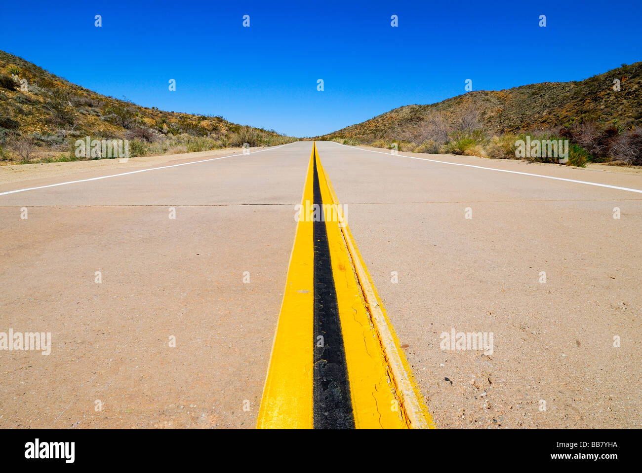 highway in desert  yellow and black line  road signalization - Stock Image