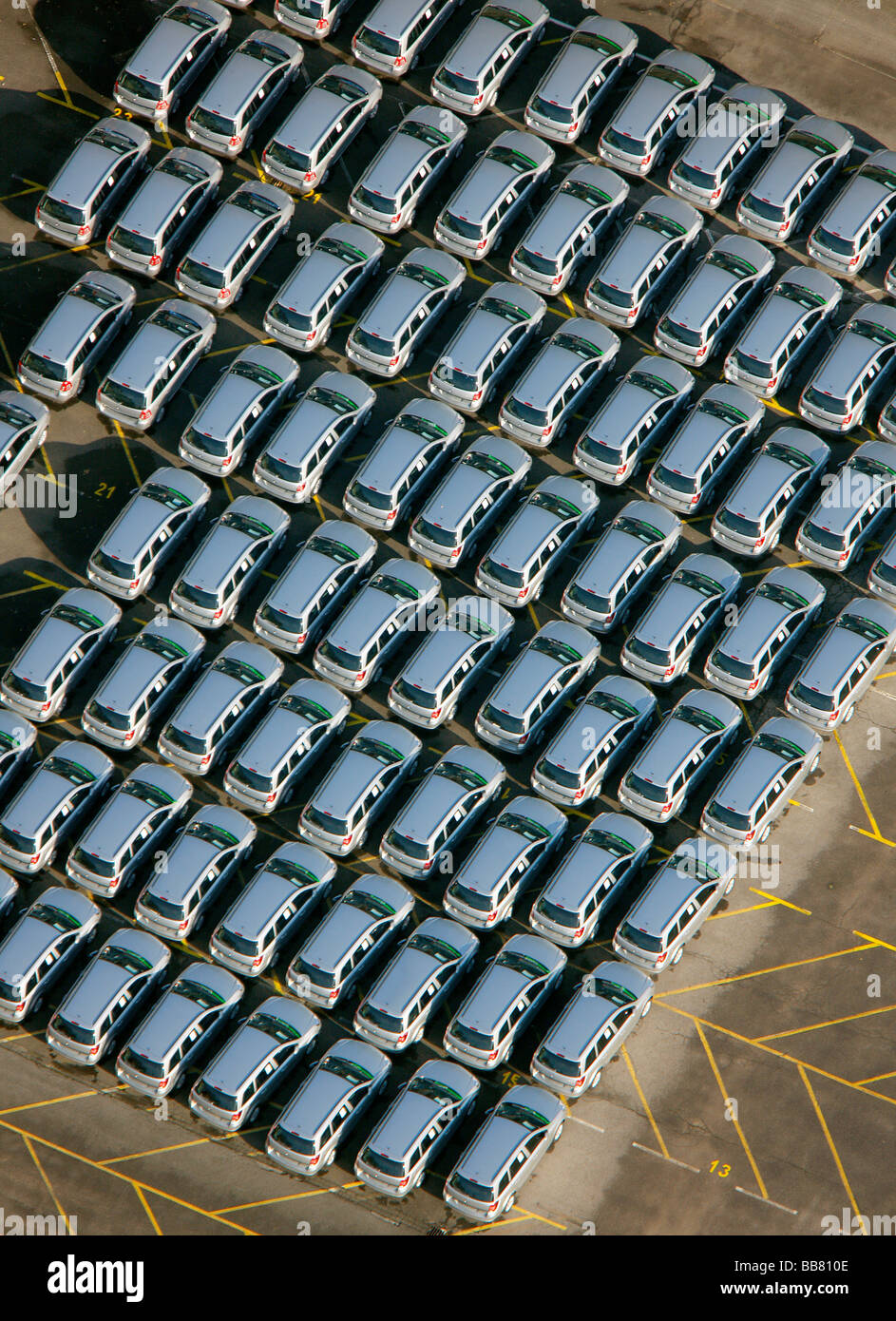Aerial photo, OPEL Werk 1 Laer, Opel car factory plant 1, parking lot for new ZAFIRA cars before delivery, Bochum, - Stock Image