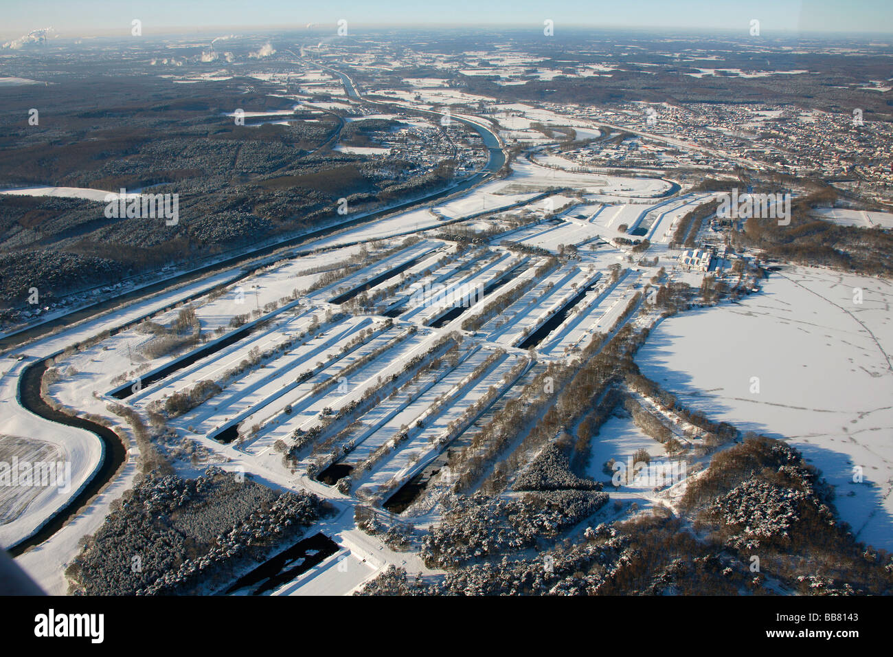 Aerial photo, Gelsenwerk sewage treatment plant, Haltern storage lake, snow, Haltern, Ruhr Area, North Rhine-Westphalia, - Stock Image