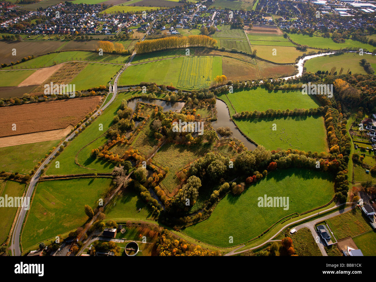 Aerial photo, castle ruins of Bernhard II near Lipperode, star shaped, moats, Lippe, Lippstadt, Soest District, - Stock Image
