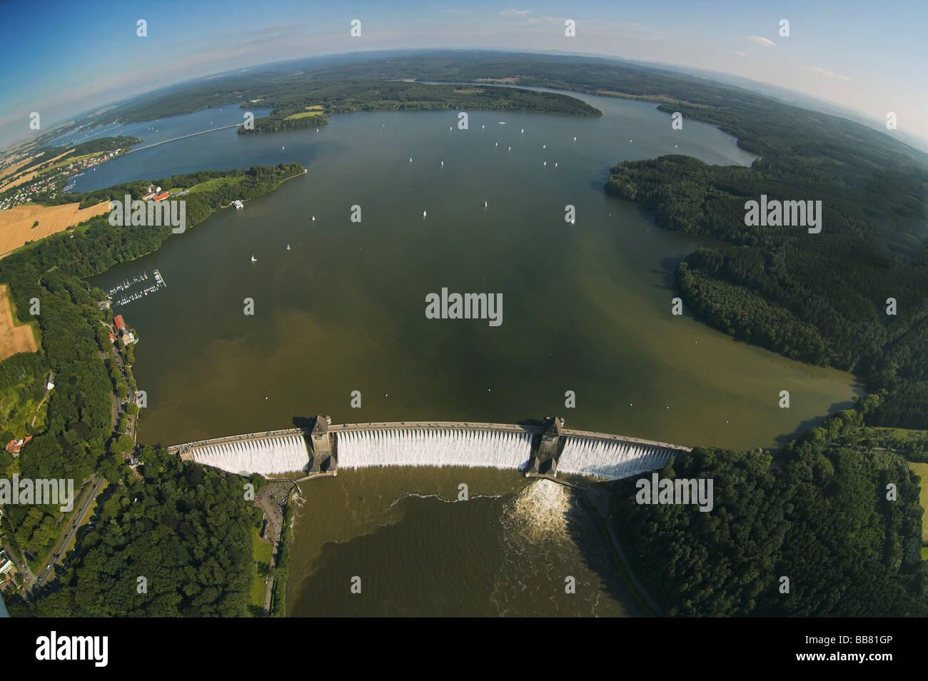 Aerial photo, Moehnesee, overflowing Moehne storage lake, retaining wall, Hochsauerlandkreis, Sauerland, North Rhine - Stock Image