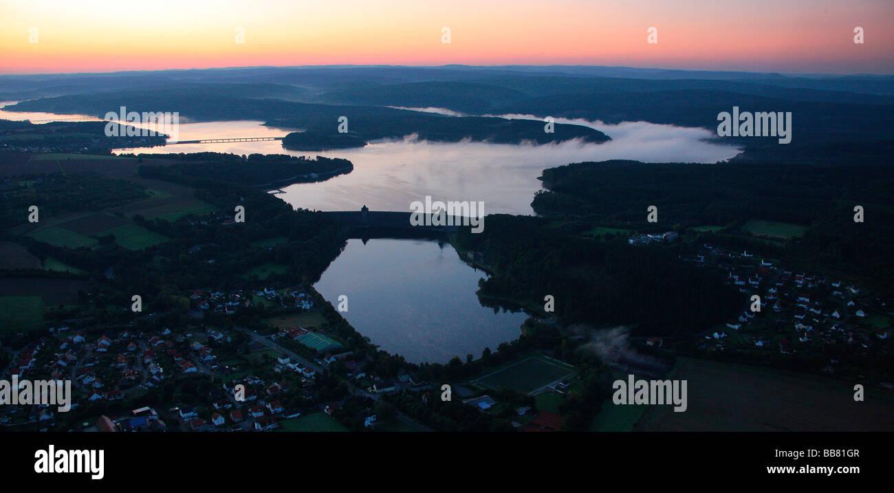 Aerial photo, Guenne Koerbecke, Moehnesee, flooding, retaining wall, Hochsauerlandkreis, Sauerland, North Rhine - Stock Image