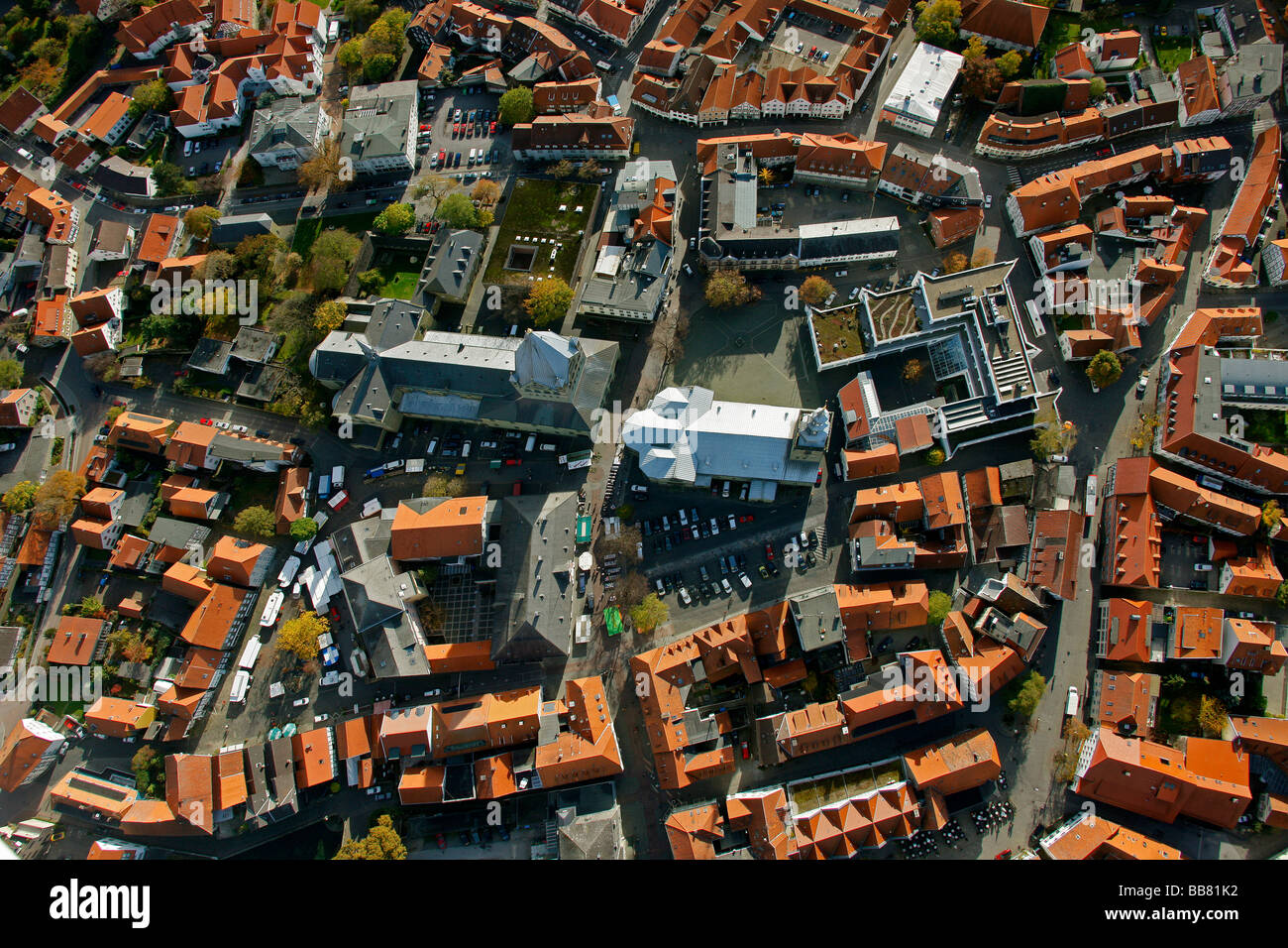 Aerial photo, St. Petri church, right, St. Patrokli-Dom Cathedral, left, inner city, Soest, Kreis Soest, Soester Stock Photo