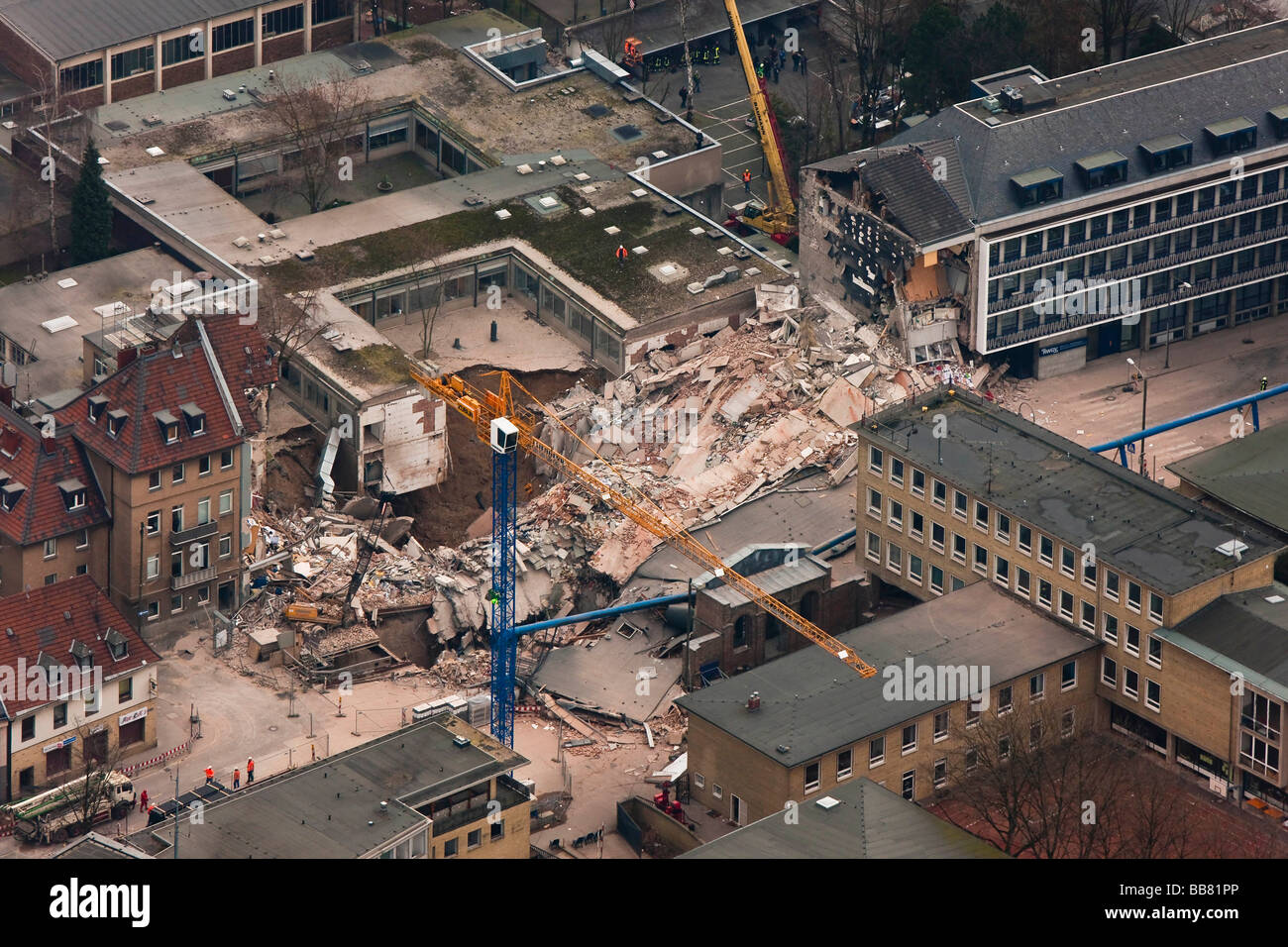 Aerial view, collapse of the Historical Archive of the City of Cologne, Cologne, North Rhine-Westphalia, Germany, Stock Photo
