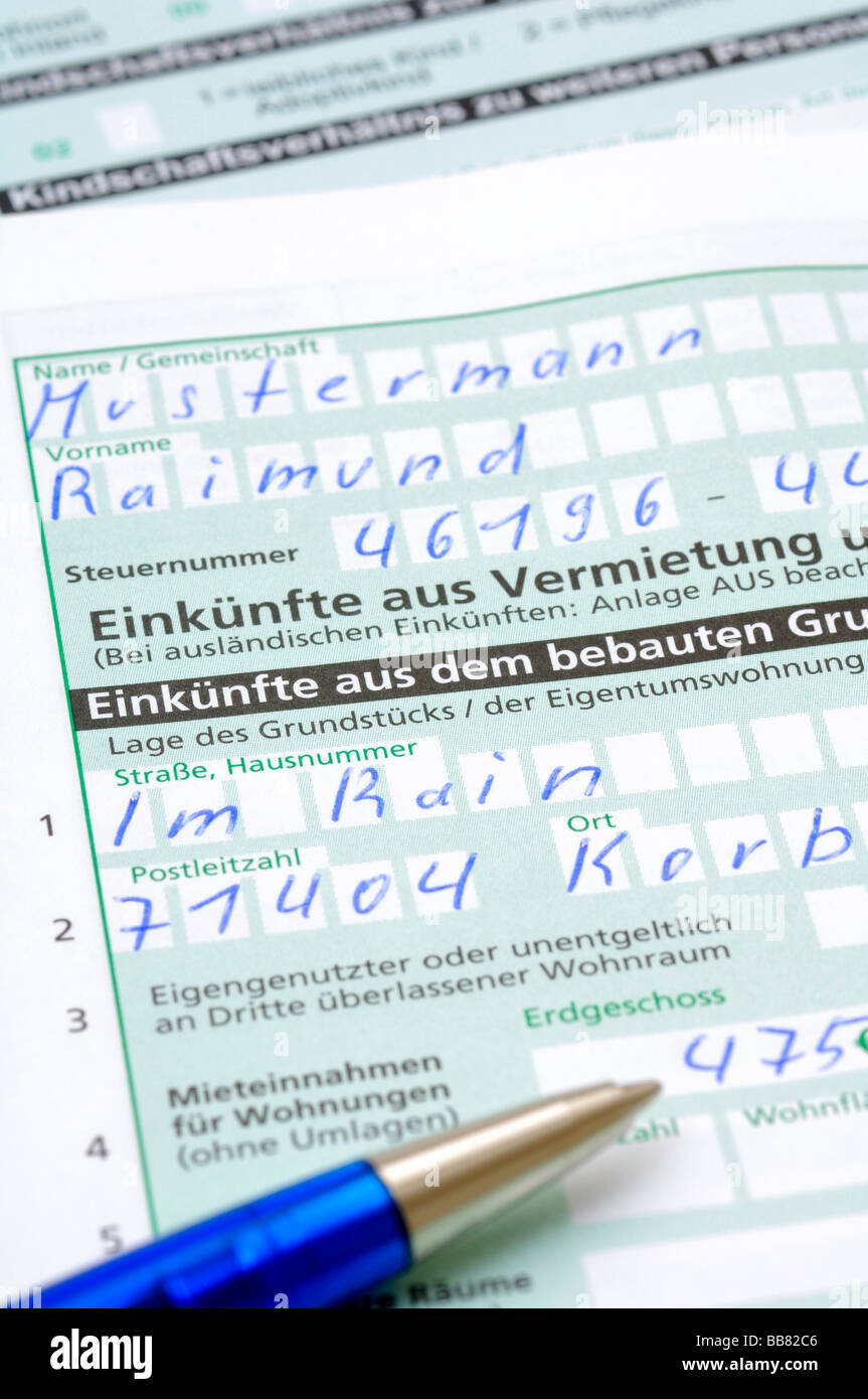 Nice Tax Declaration, Income From Renting And Leasing, V   Stock Image