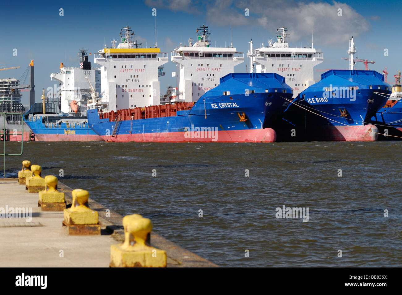Feeder vessels, not in use because of the economic crisis and the export recession, on the Norderelbe River, Hamburg, - Stock Image