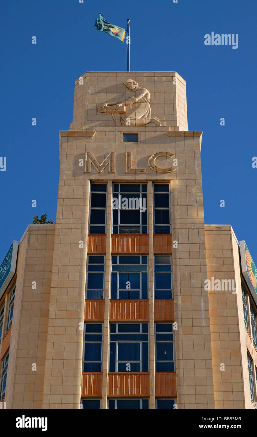 Facade of the Art Deco MLC Building in downtown Auckland, New Zealand - Stock Image
