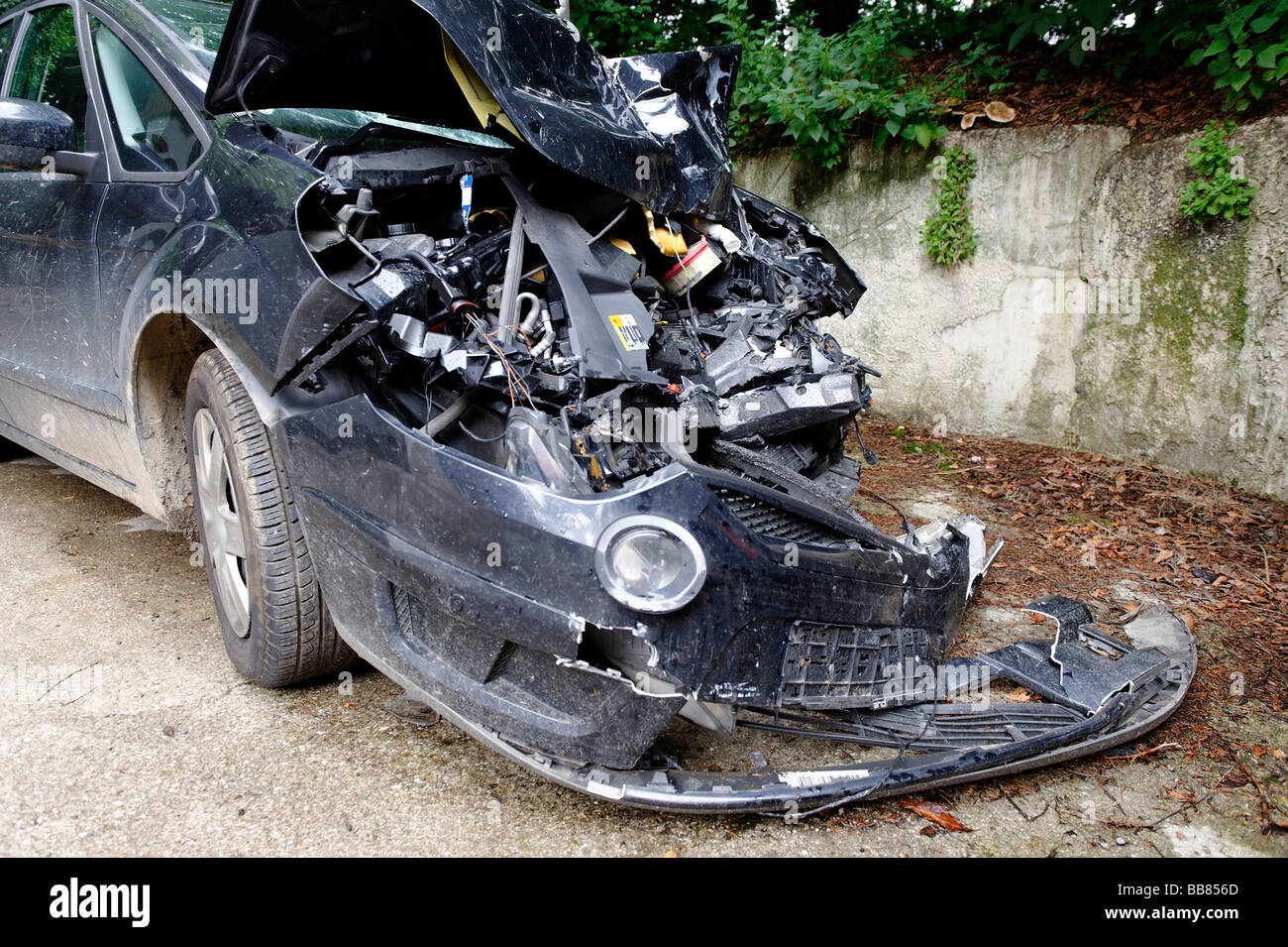 Car crash wreck, damaged car Stock Photo